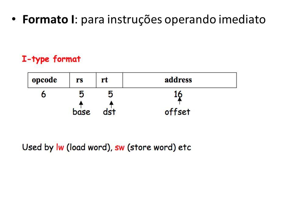 Formato I: para instruções operando imediato