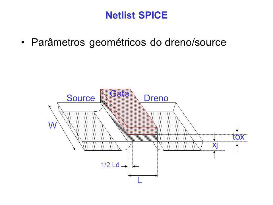 Parâmetros geométricos do dreno/source