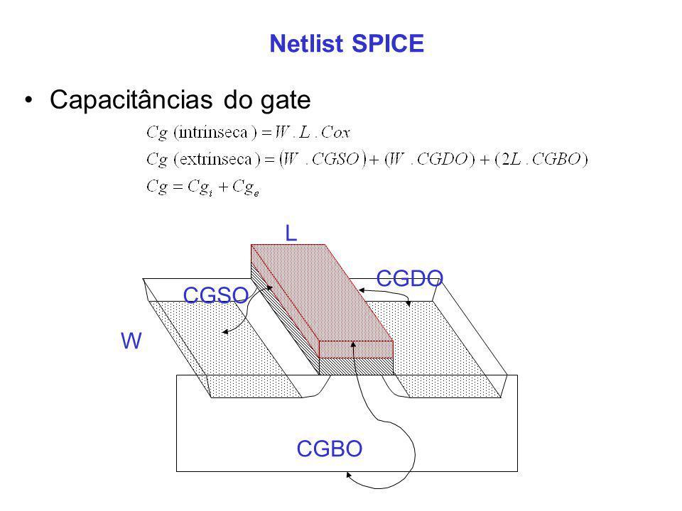 Netlist SPICE Capacitâncias do gate L CGDO CGSO W CGBO 10