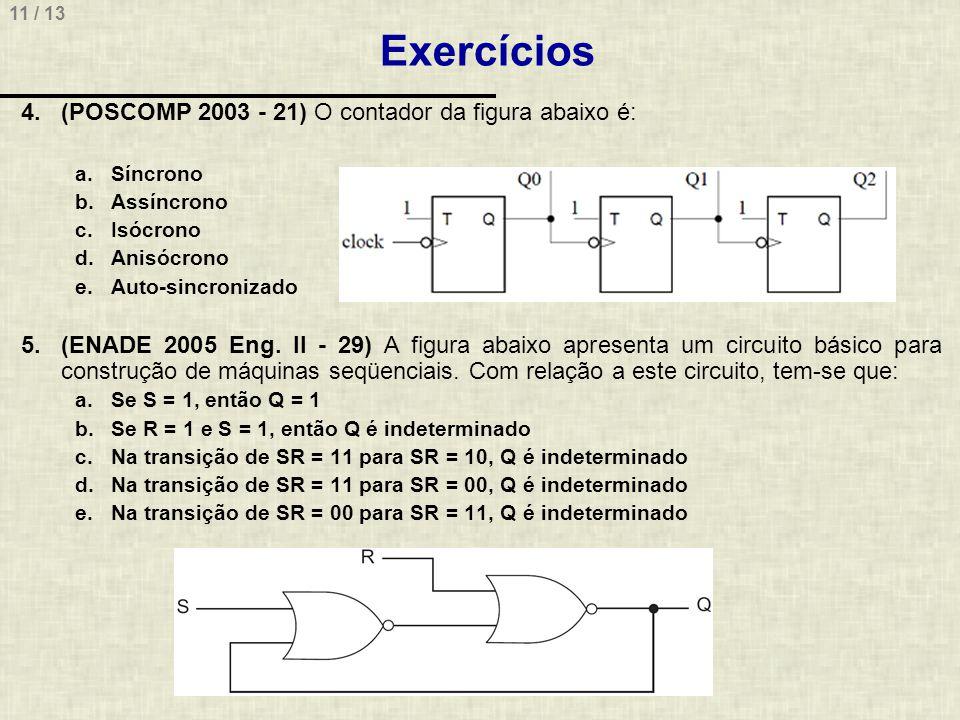 Exercícios (POSCOMP 2003 - 21) O contador da figura abaixo é: