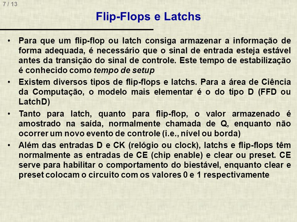 Flip-Flops e Latchs