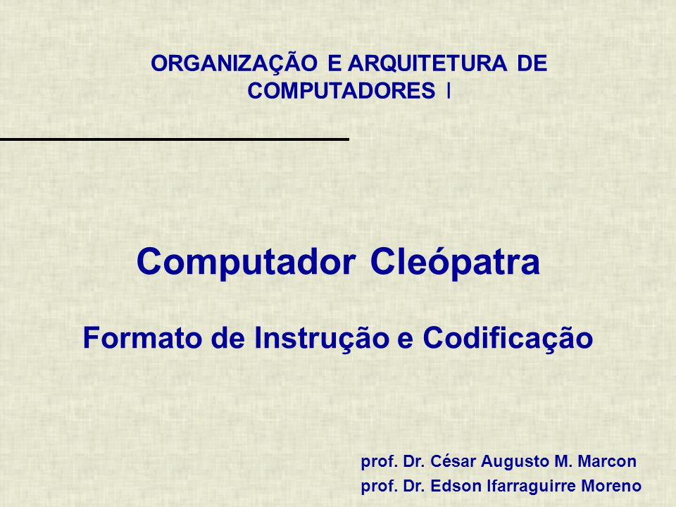Computador Cleópatra Formato de Instrução e Codificação