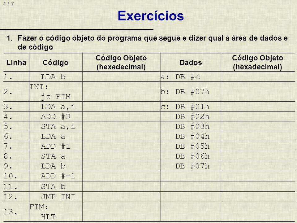 Exercícios 1. LDA b a: DB #c 2. INI: jz FIM b: DB #07h 3. LDA a,i