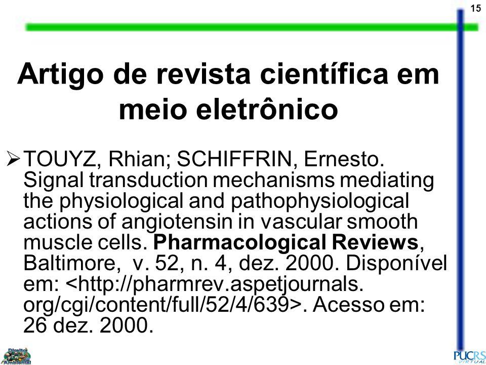 Artigo de revista científica em meio eletrônico