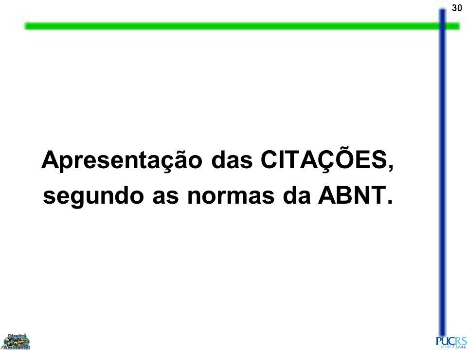 Apresentação das CITAÇÕES, segundo as normas da ABNT.