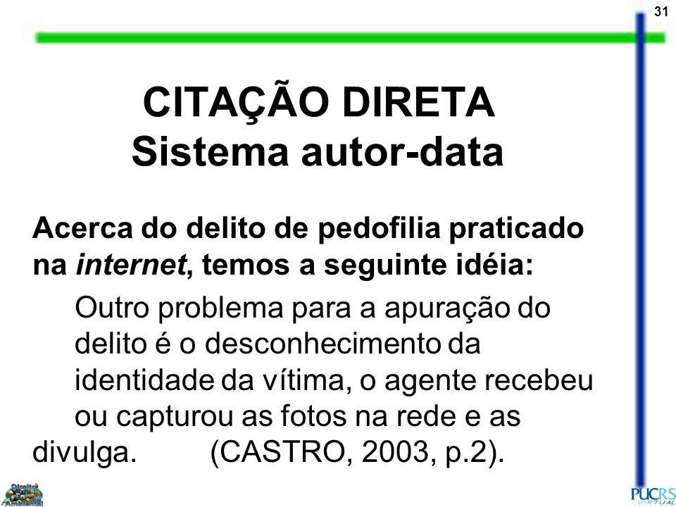 CITAÇÃO DIRETA Sistema autor-data