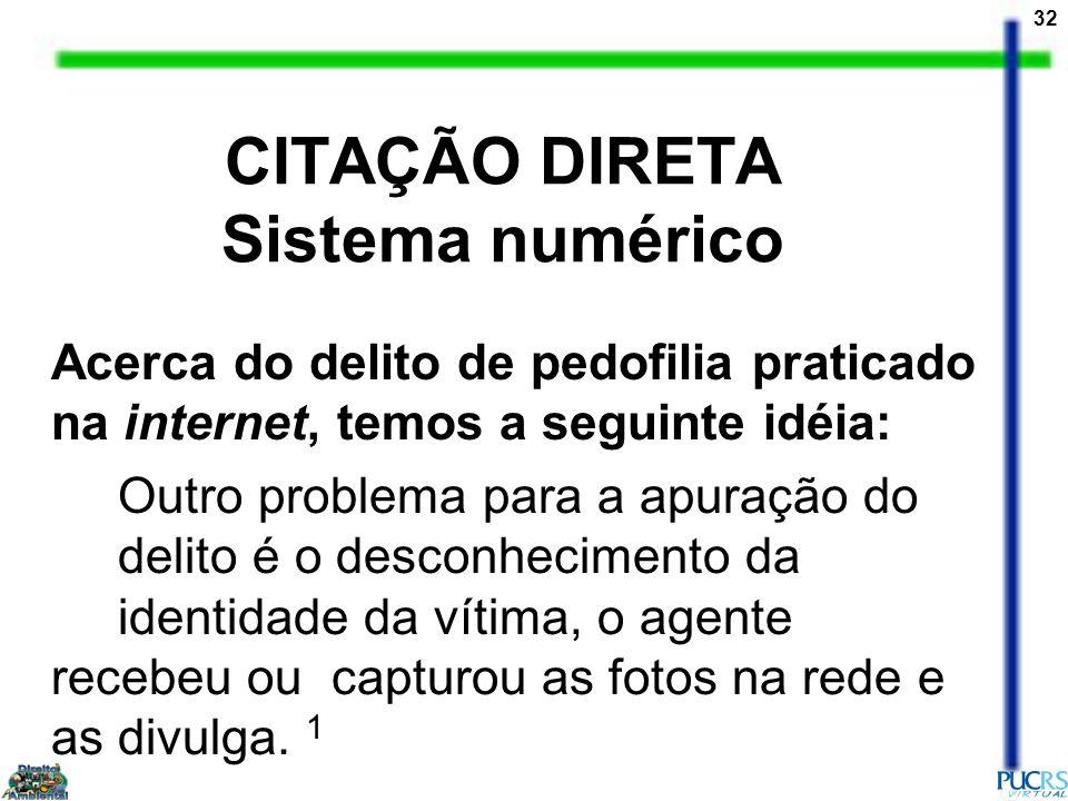 CITAÇÃO DIRETA Sistema numérico