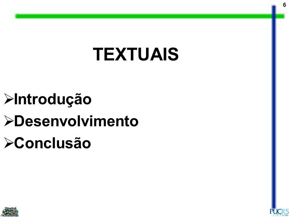TEXTUAIS Introdução Desenvolvimento Conclusão