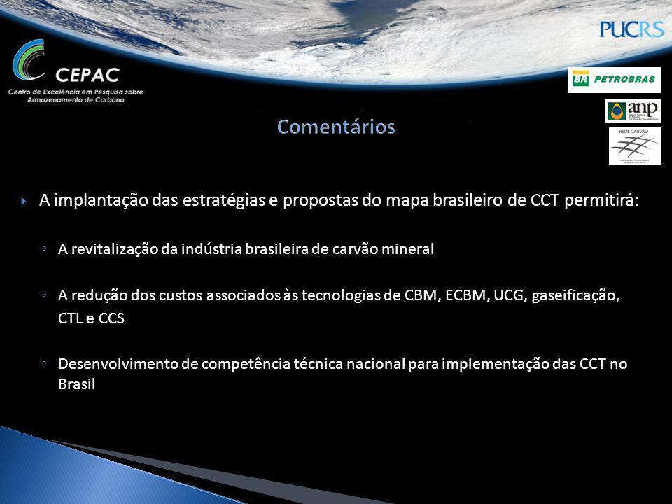 Comentários A implantação das estratégias e propostas do mapa brasileiro de CCT permitirá: A revitalização da indústria brasileira de carvão mineral.