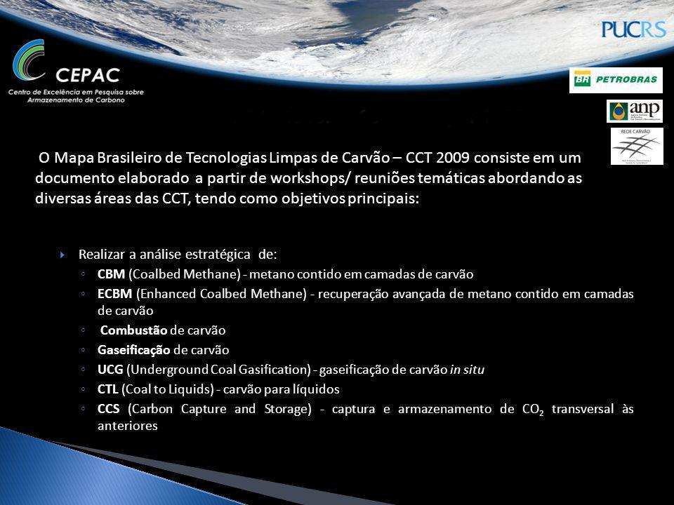 O Mapa Brasileiro de Tecnologias Limpas de Carvão – CCT 2009 consiste em um documento elaborado a partir de workshops/ reuniões temáticas abordando as diversas áreas das CCT, tendo como objetivos principais: