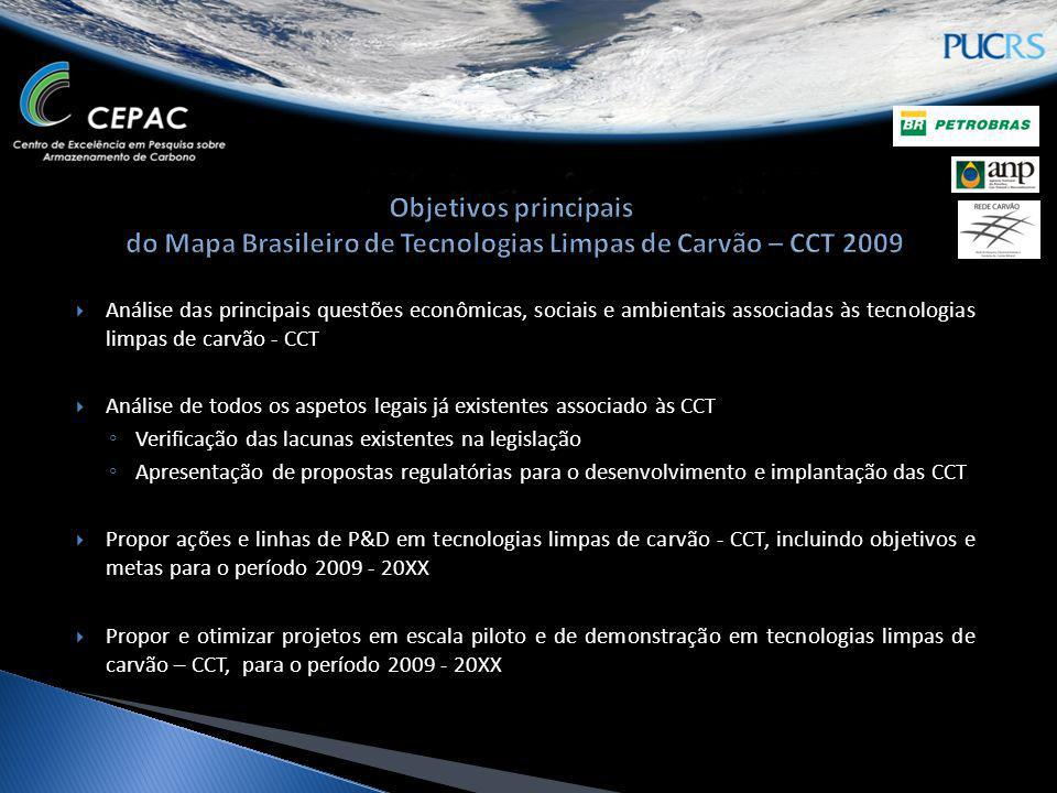 Objetivos principais do Mapa Brasileiro de Tecnologias Limpas de Carvão – CCT 2009
