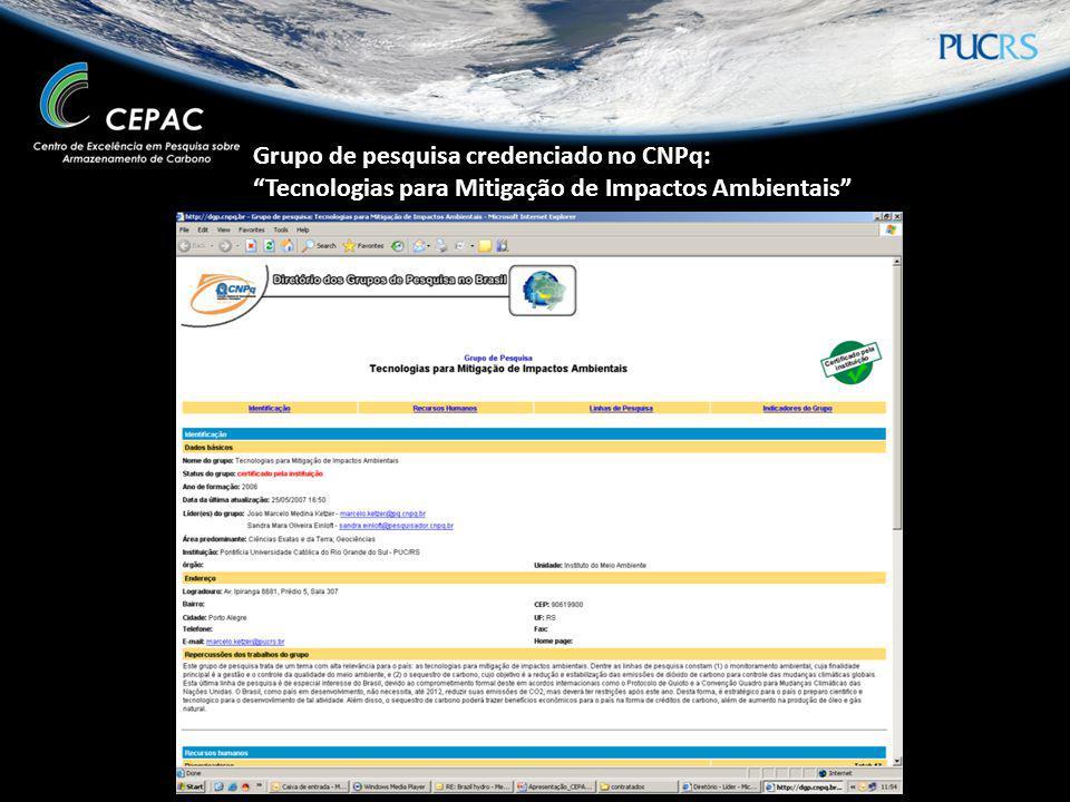 Grupo de pesquisa credenciado no CNPq: