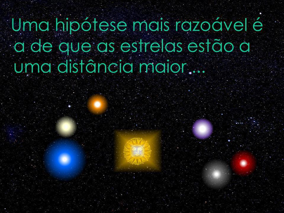 Uma hipótese mais razoável é a de que as estrelas estão a uma distância maior ...