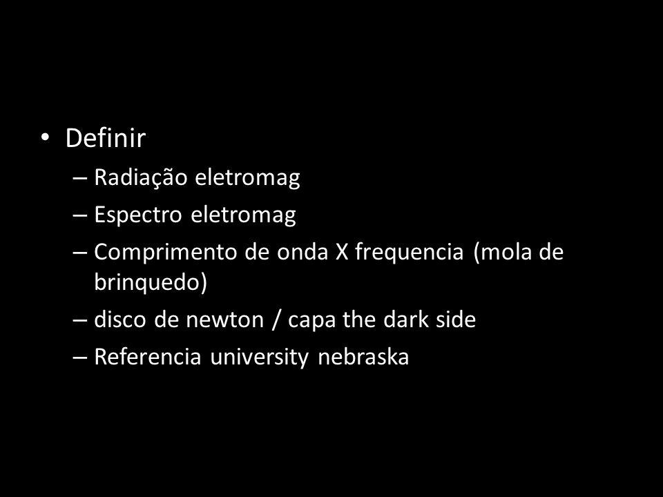 Definir Radiação eletromag Espectro eletromag