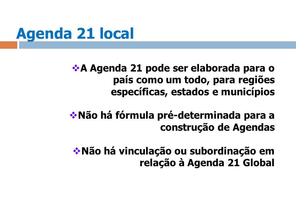 Agenda 21 local A Agenda 21 pode ser elaborada para o país como um todo, para regiões específicas, estados e municípios.
