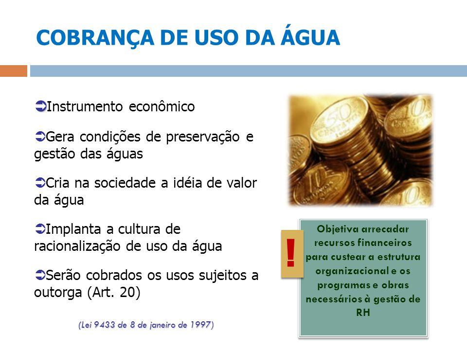 ! COBRANÇA DE USO DA ÁGUA Instrumento econômico