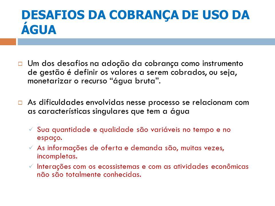DESAFIOS DA COBRANÇA DE USO DA ÁGUA