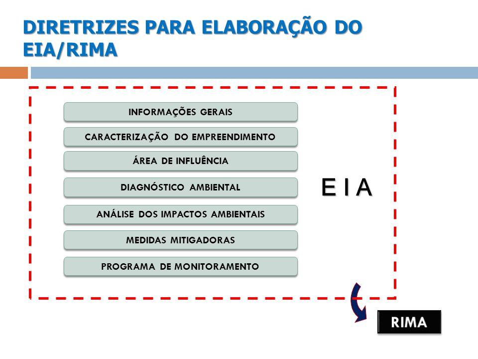 E I A DIRETRIZES PARA ELABORAÇÃO DO EIA/RIMA RIMA INFORMAÇÕES GERAIS