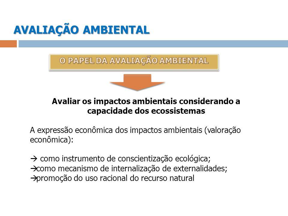 AVALIAÇÃO AMBIENTAL O PAPEL DA AVALIAÇÃO AMBIENTAL