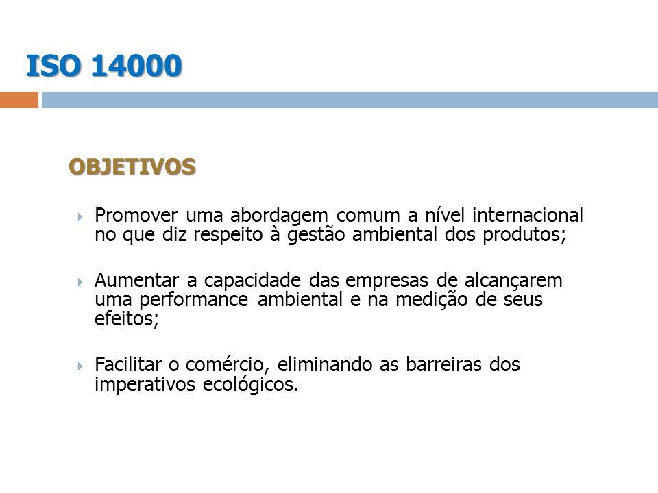 ISO 14000 OBJETIVOS. Promover uma abordagem comum a nível internacional no que diz respeito à gestão ambiental dos produtos;
