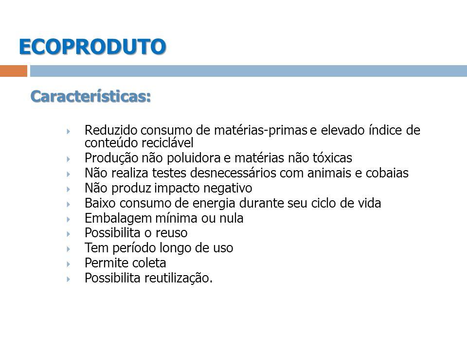 ECOPRODUTO Características: