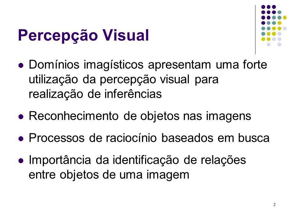 Percepção Visual Domínios imagísticos apresentam uma forte utilização da percepção visual para realização de inferências.