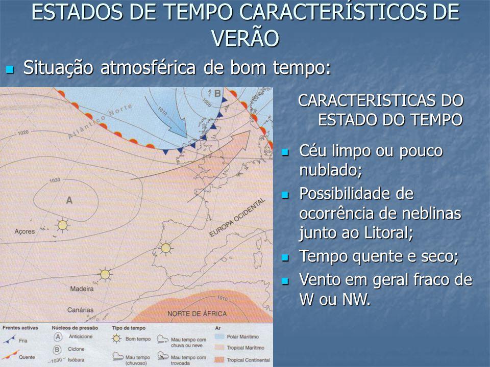 ESTADOS DE TEMPO CARACTERÍSTICOS DE VERÃO
