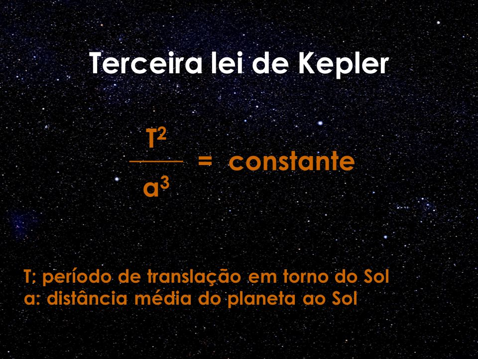 Terceira lei de Kepler T2 ____ a3 = constante