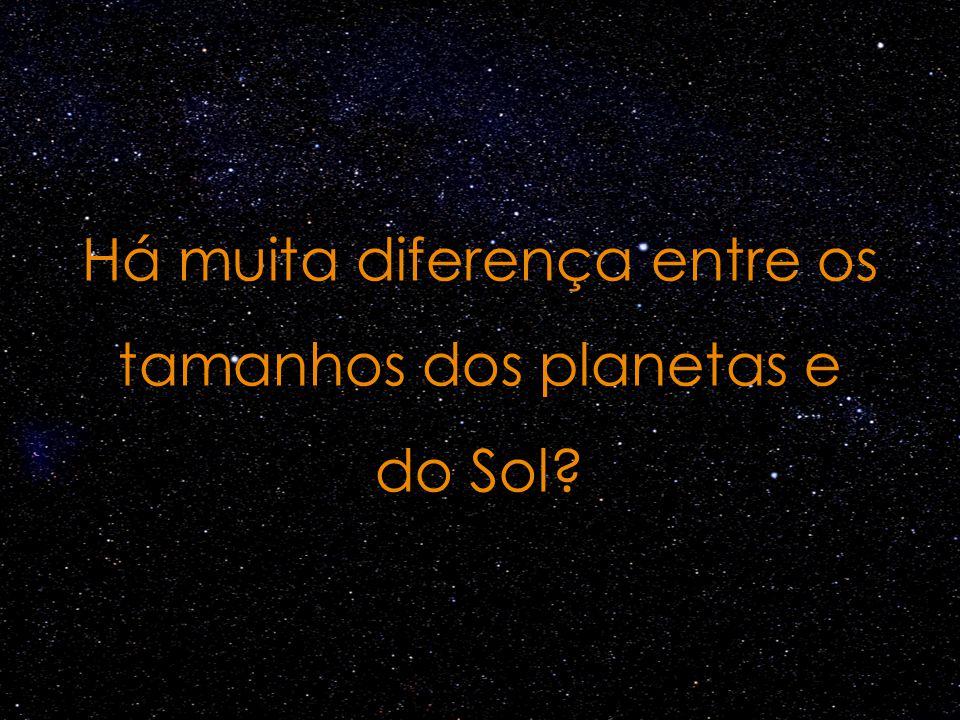 Há muita diferença entre os tamanhos dos planetas e do Sol