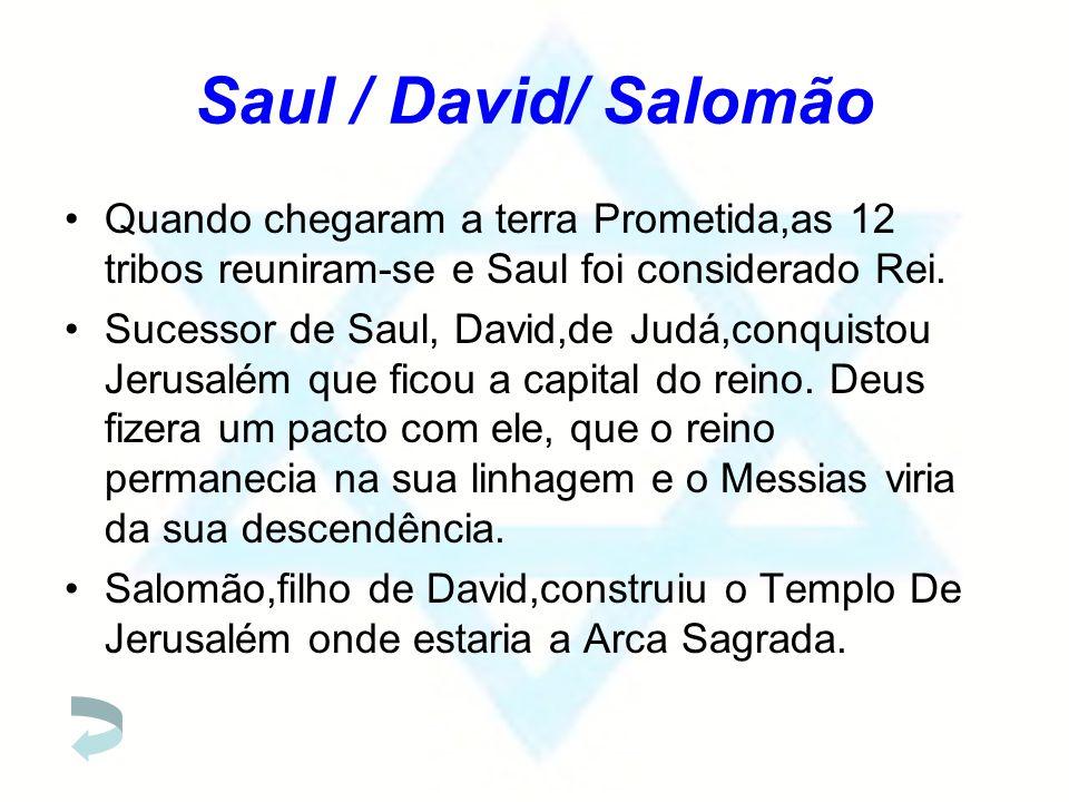 Saul / David/ Salomão Quando chegaram a terra Prometida,as 12 tribos reuniram-se e Saul foi considerado Rei.