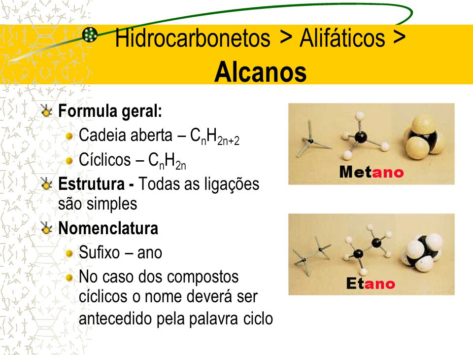 Hidrocarbonetos > Alifáticos > Alcanos