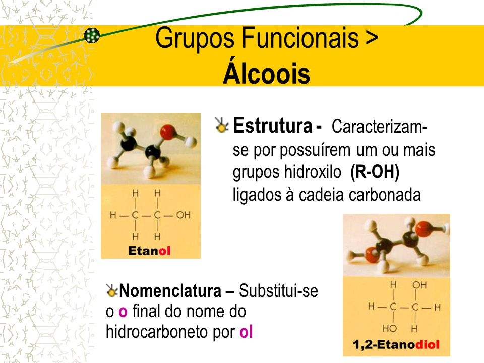 Grupos Funcionais > Álcoois
