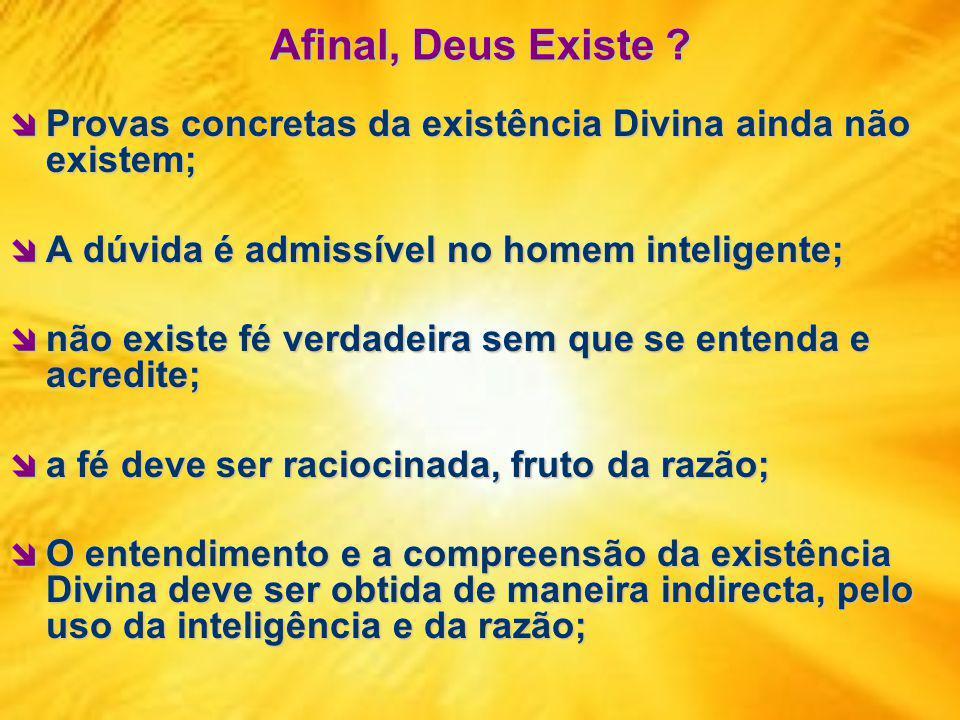 Afinal, Deus Existe Provas concretas da existência Divina ainda não existem; A dúvida é admissível no homem inteligente;