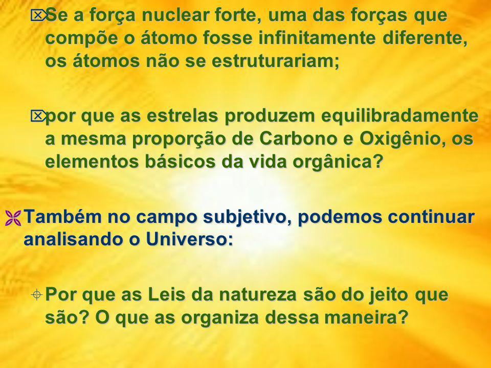 Se a força nuclear forte, uma das forças que compõe o átomo fosse infinitamente diferente, os átomos não se estruturariam;