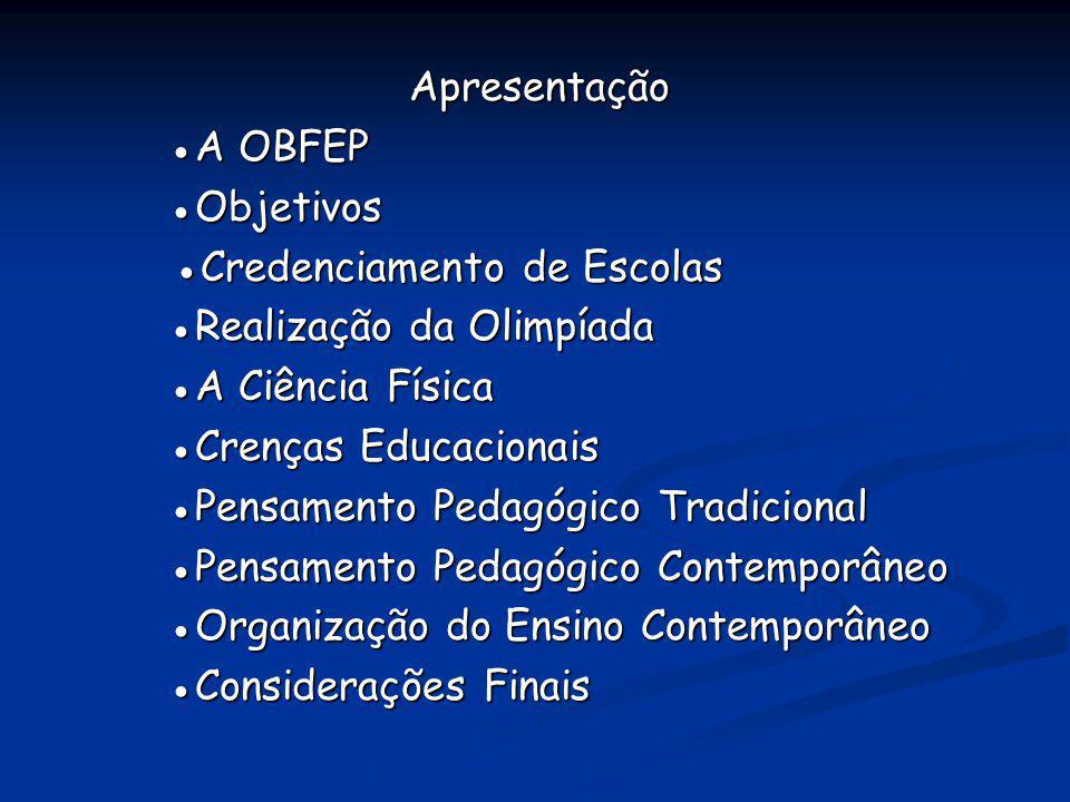 Apresentação ●A OBFEP. ●Objetivos. ●Credenciamento de Escolas. ●Realização da Olimpíada. ●A Ciência Física.