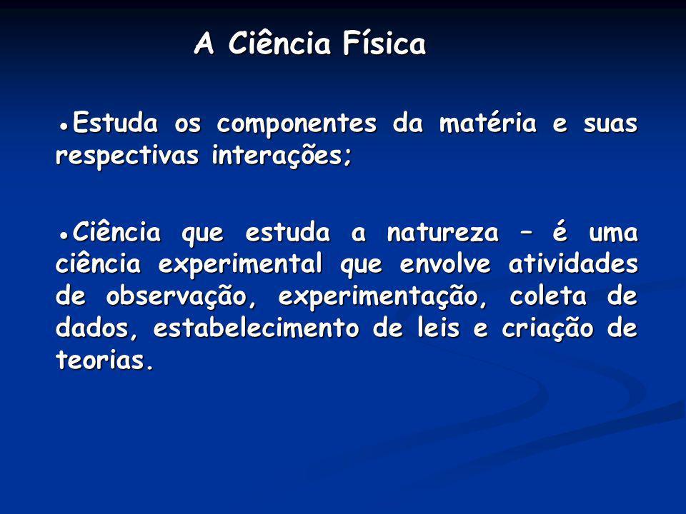 A Ciência Física ●Estuda os componentes da matéria e suas respectivas interações;