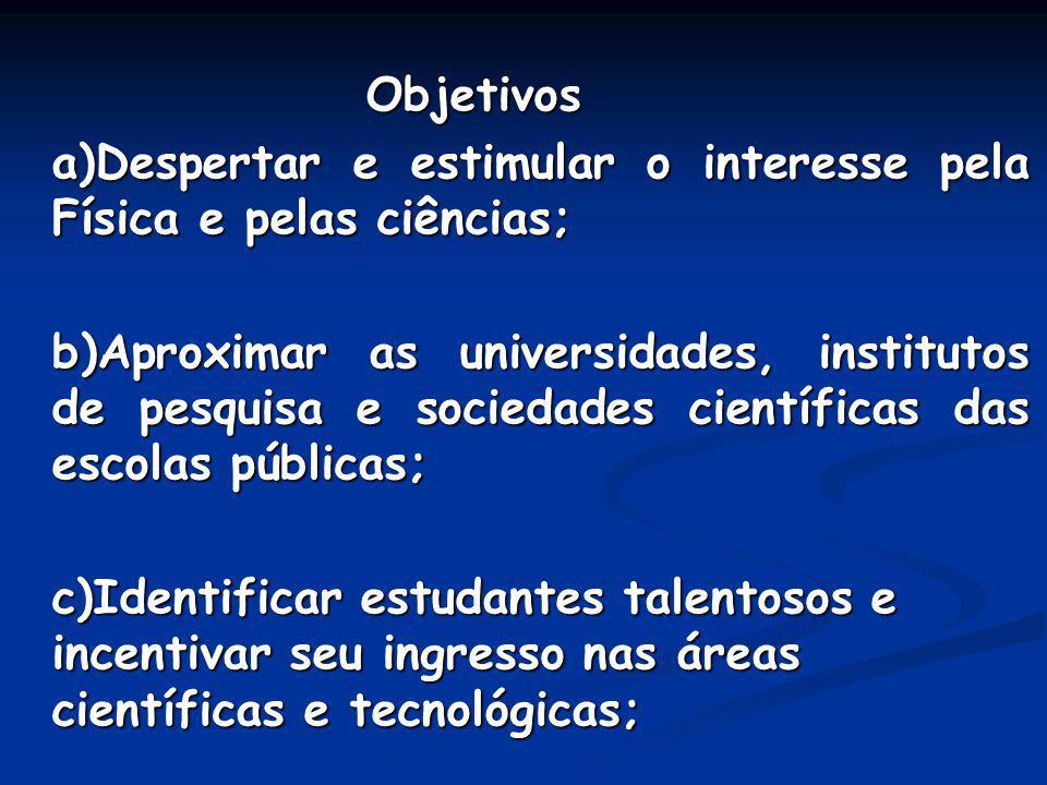Objetivos a)Despertar e estimular o interesse pela Física e pelas ciências;
