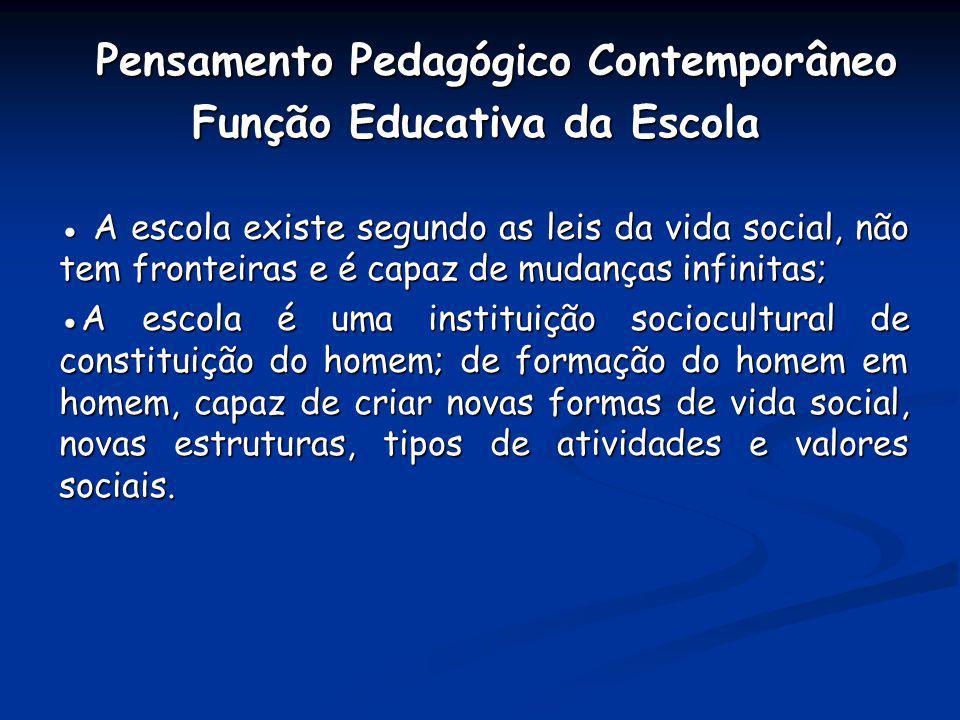 Pensamento Pedagógico Contemporâneo Função Educativa da Escola