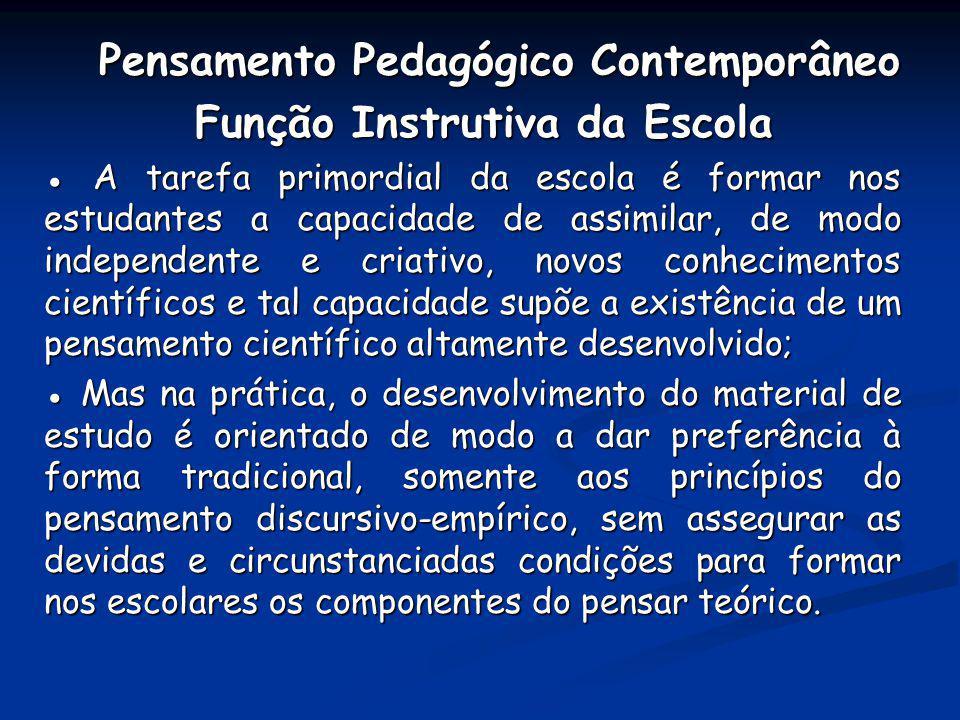 Pensamento Pedagógico Contemporâneo Função Instrutiva da Escola