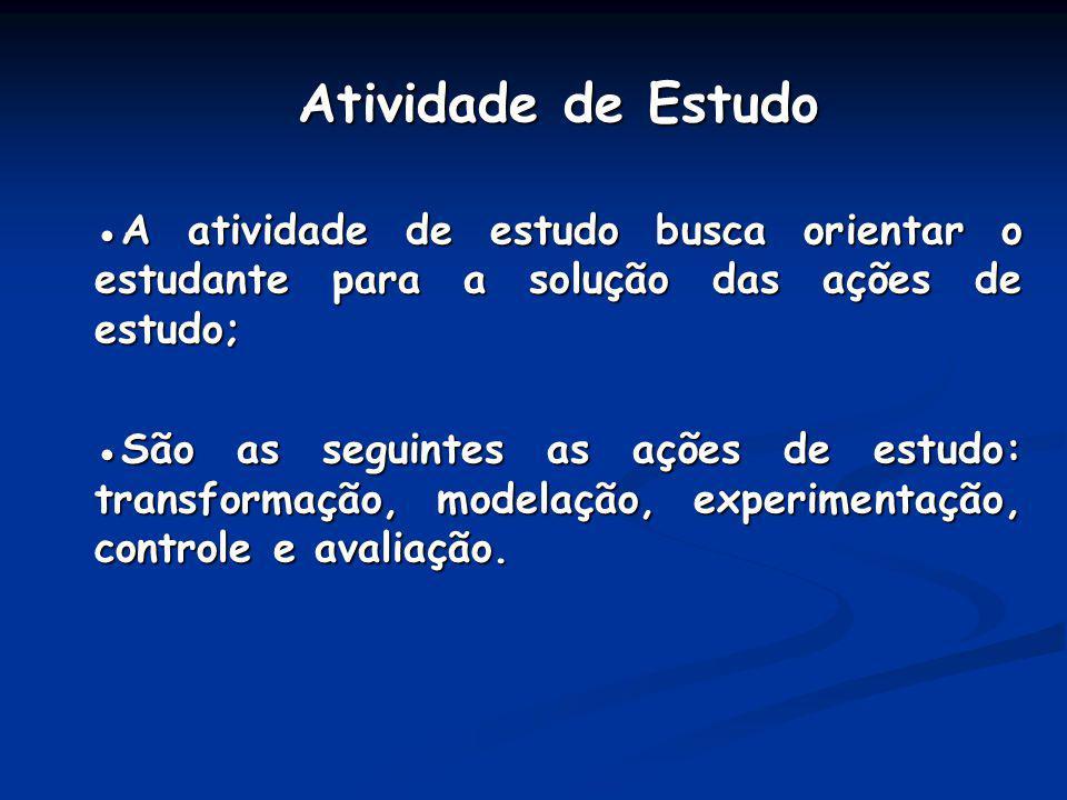 Atividade de Estudo ●A atividade de estudo busca orientar o estudante para a solução das ações de estudo;