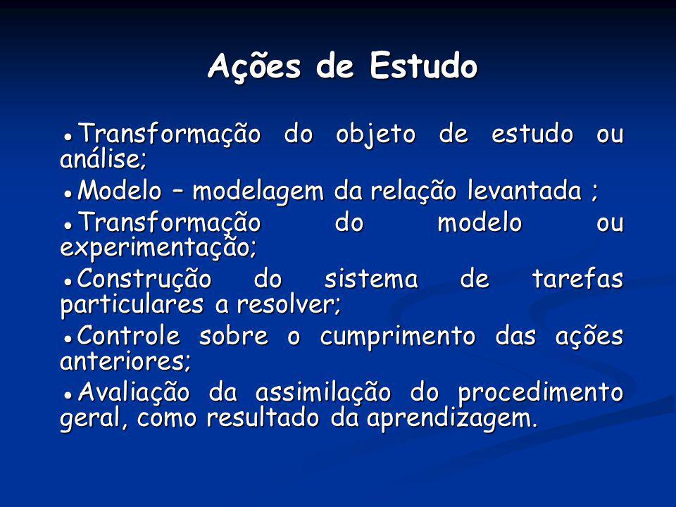 Ações de Estudo ●Transformação do objeto de estudo ou análise;