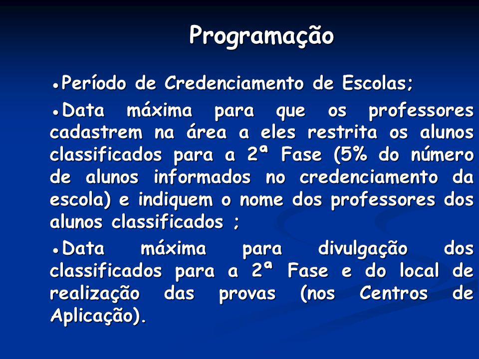 Programação ●Período de Credenciamento de Escolas;