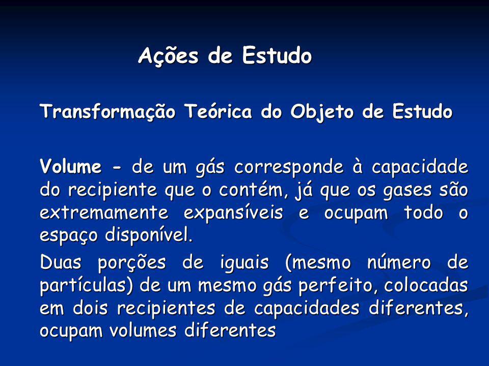 Ações de Estudo Transformação Teórica do Objeto de Estudo.