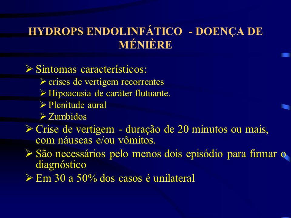HYDROPS ENDOLINFÁTICO - DOENÇA DE MÉNIÈRE