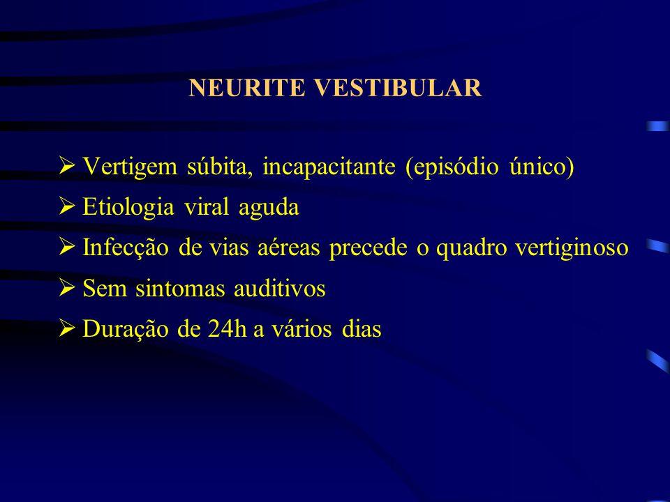 NEURITE VESTIBULAR Vertigem súbita, incapacitante (episódio único) Etiologia viral aguda. Infecção de vias aéreas precede o quadro vertiginoso.