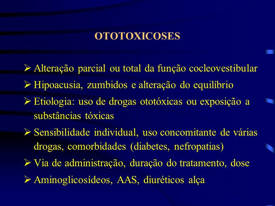 OTOTOXICOSES Alteração parcial ou total da função cocleovestibular. Hipoacusia, zumbidos e alteração do equilíbrio.