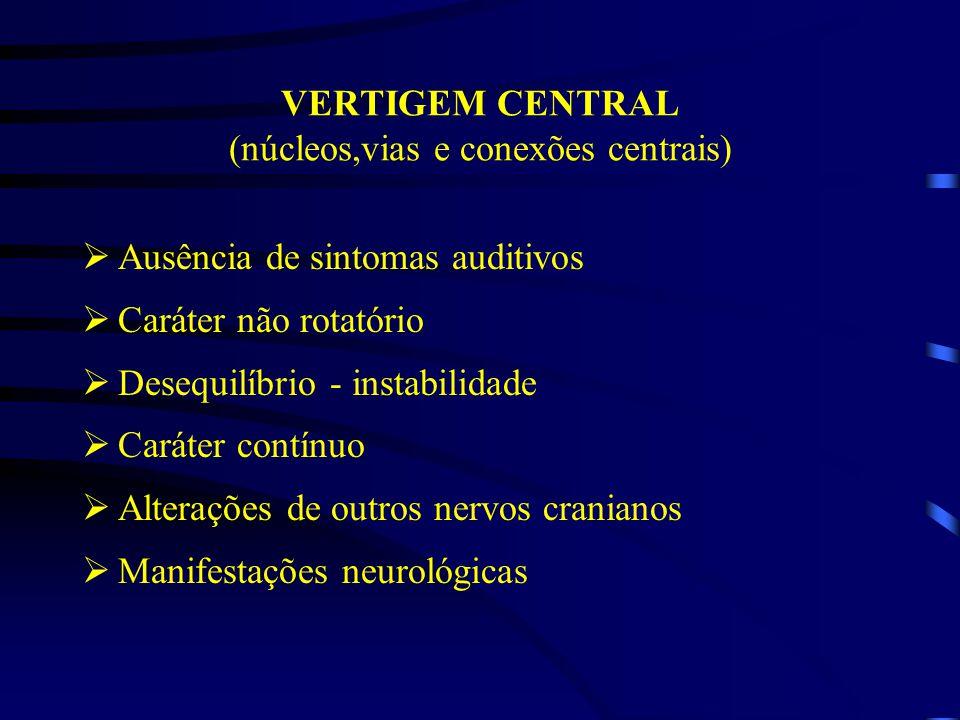 VERTIGEM CENTRAL (núcleos,vias e conexões centrais)
