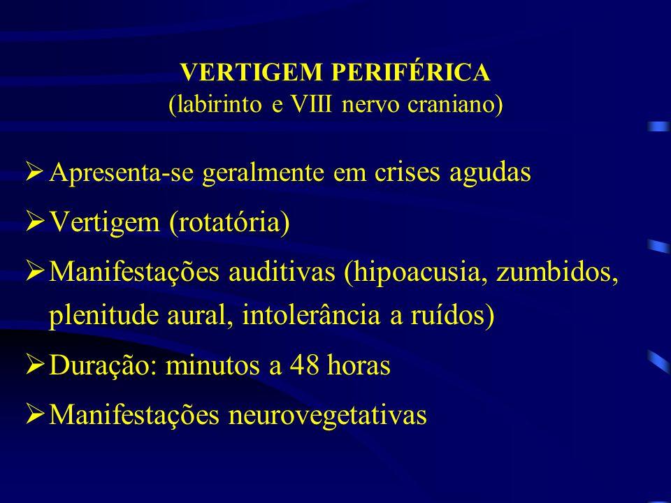 VERTIGEM PERIFÉRICA (labirinto e VIII nervo craniano)