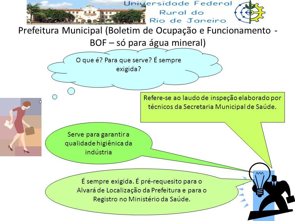 Prefeitura Municipal (Boletim de Ocupação e Funcionamento - BOF – só para água mineral)