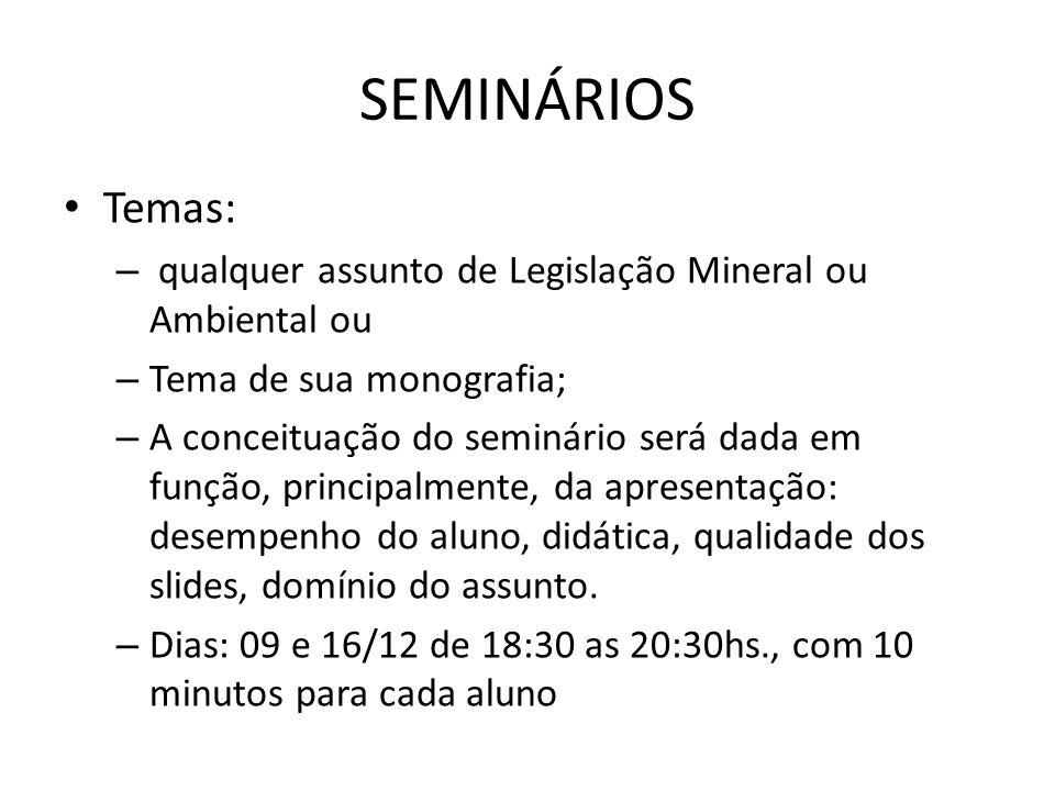 SEMINÁRIOS Temas: qualquer assunto de Legislação Mineral ou Ambiental ou. Tema de sua monografia;